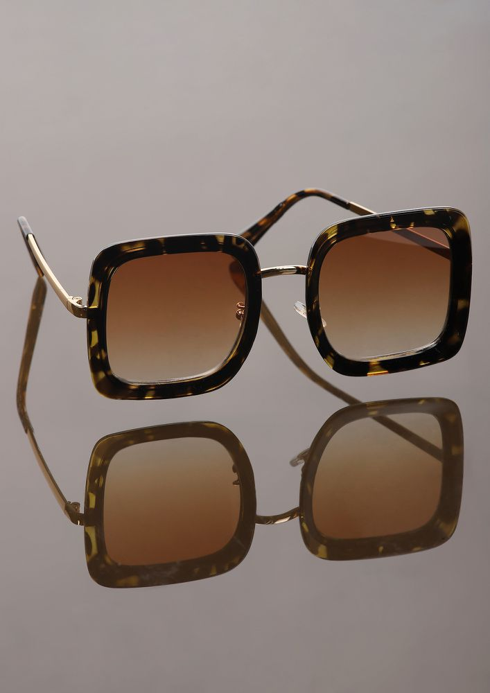 HOW FAR WILL YOU FOR PR-INT AMBER SQUARE FRAME SUNGLASSES