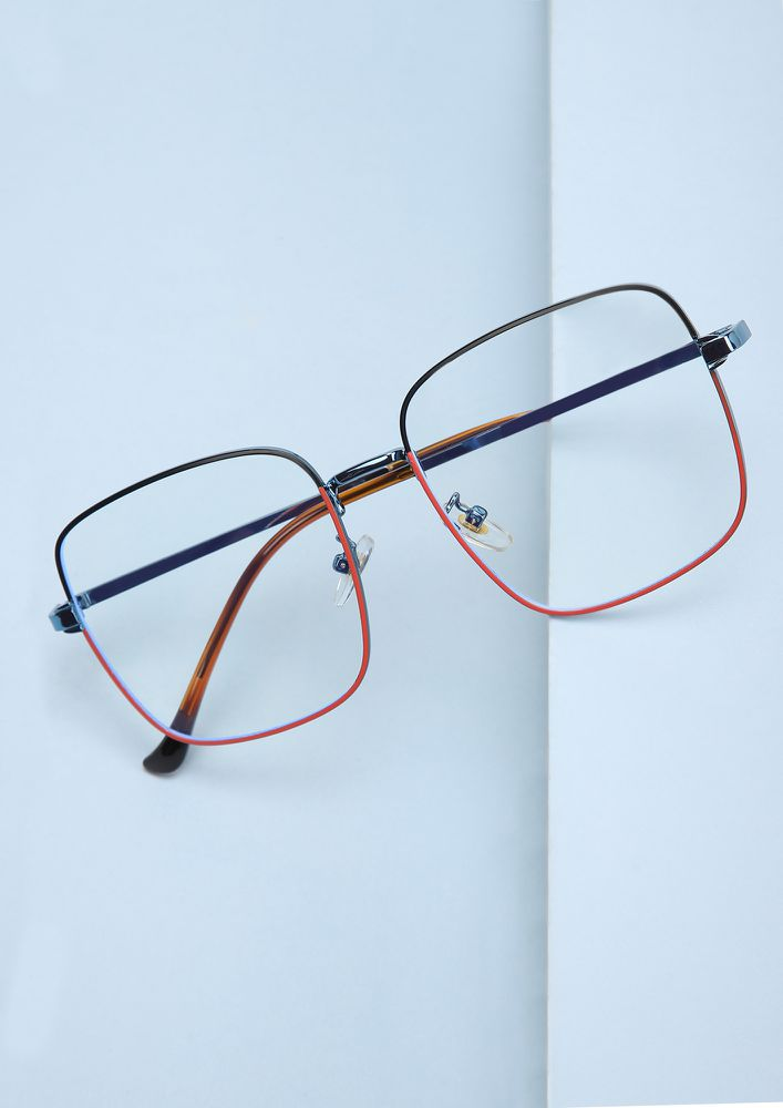 CALM AND COLLECTED BLUE RED SQUARE FRAME SUNGLASSES