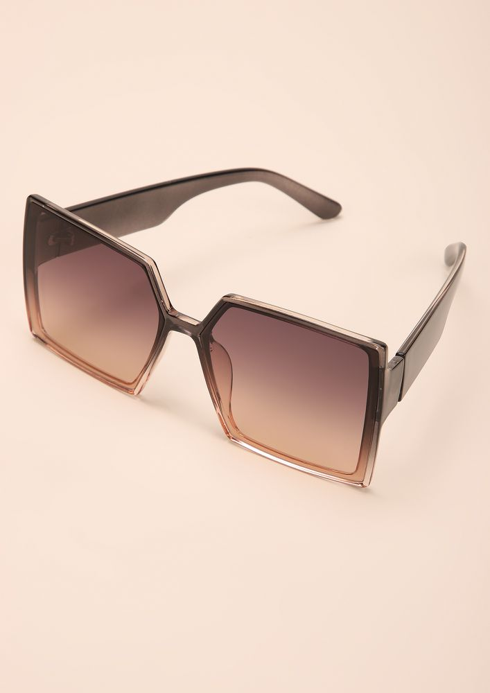 OVER-SIZED IT ALL GREY TEA SQUARE FRAME SUNGLASSES