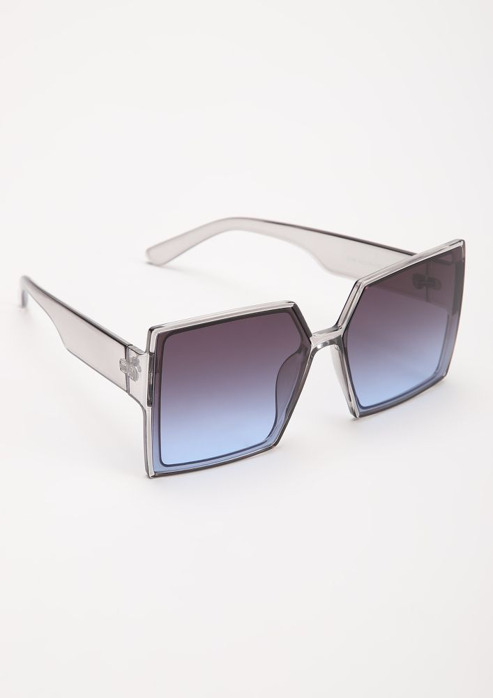 OVER-SIZED IT ALL GREY BLUE SQUARE FRAME SUNGLASSES