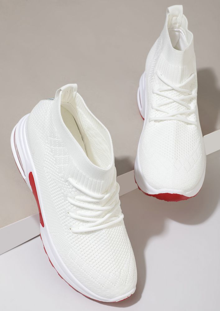 SOCK UP BEFORE YOU GO WHITE TRAINERS