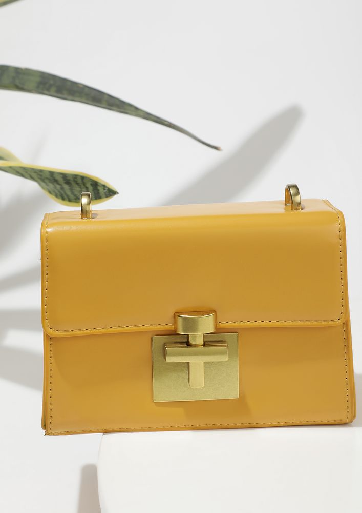 BLOCK IN STYLE YELLOW SLING BAG
