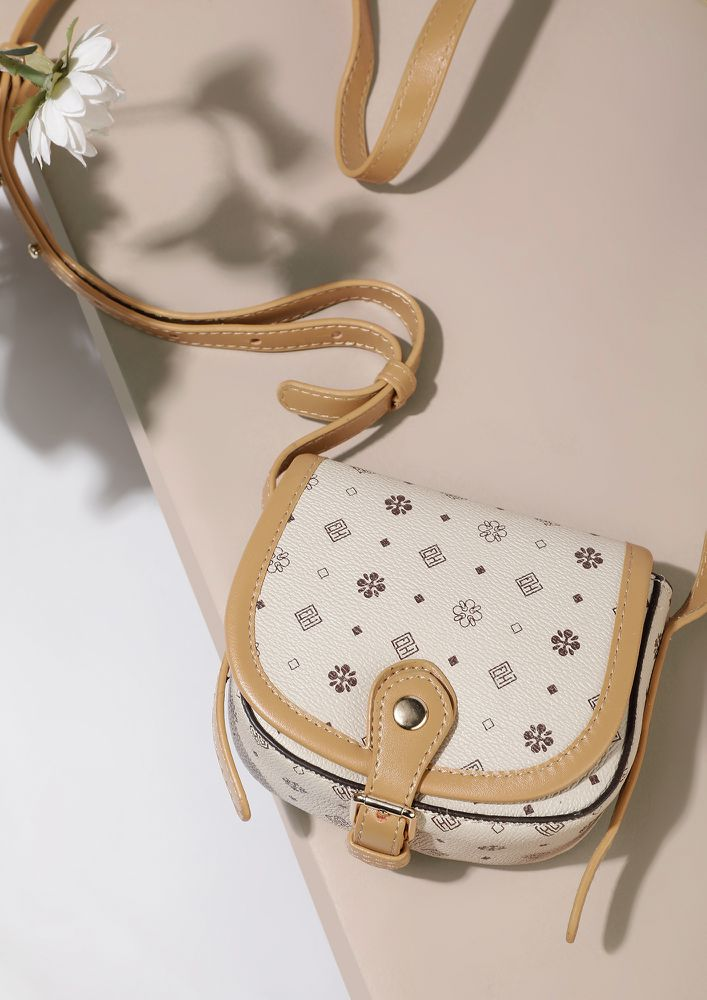 ALL ITSY DITSY BEIGE SLING BAG