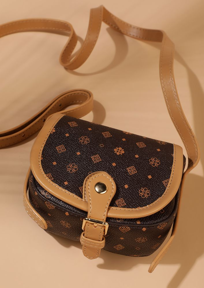ALL ITSY DITSY BROWN SLING BAG