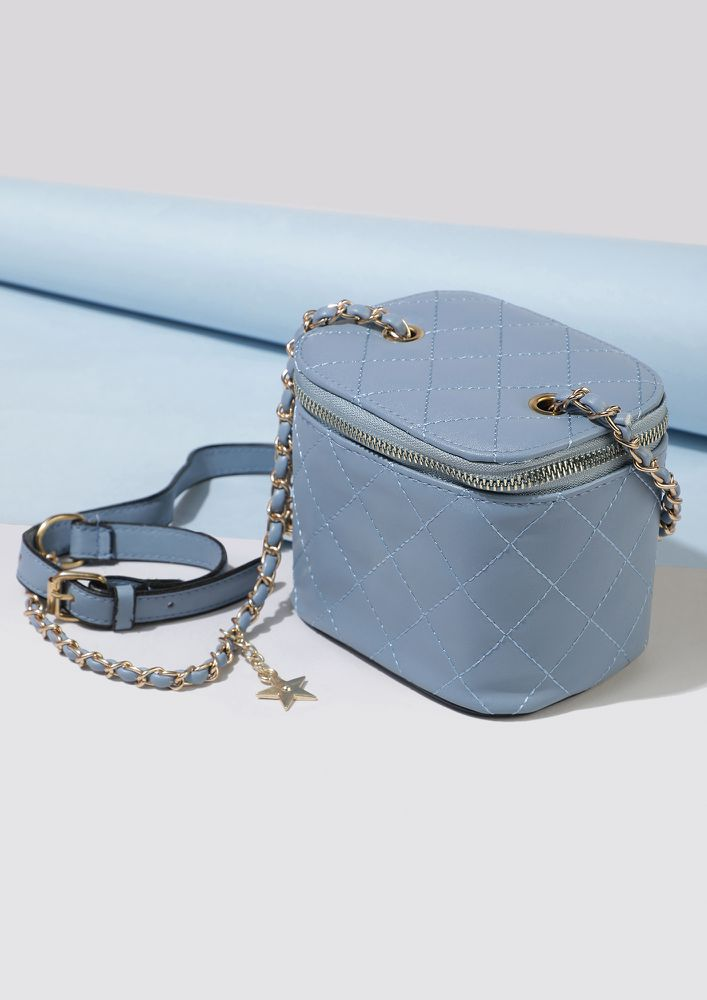 WE DON'T STRAY BLUE BUCKET BAG