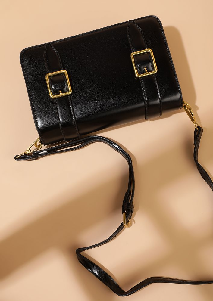 DOUBLE BUCKLED DOWN BLACK SLING BAG