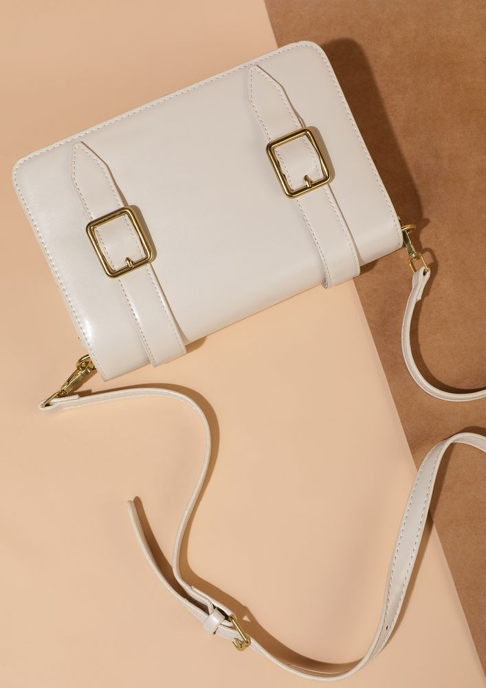 DOUBLE BUCKLED DOWN APRICOT WHITE SLING BAG
