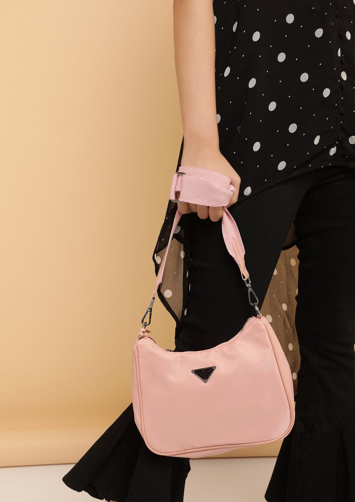 COMING IN A JIFFY PINK HOBO SLING