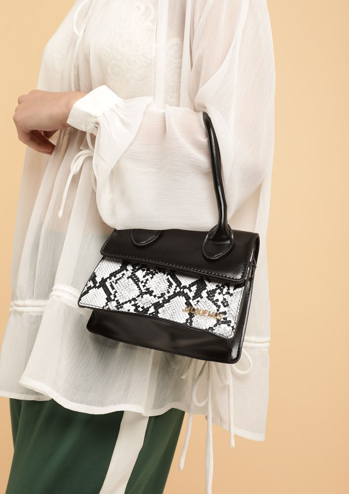 THE HIDDEN SERPENT BLACK HANDBAG