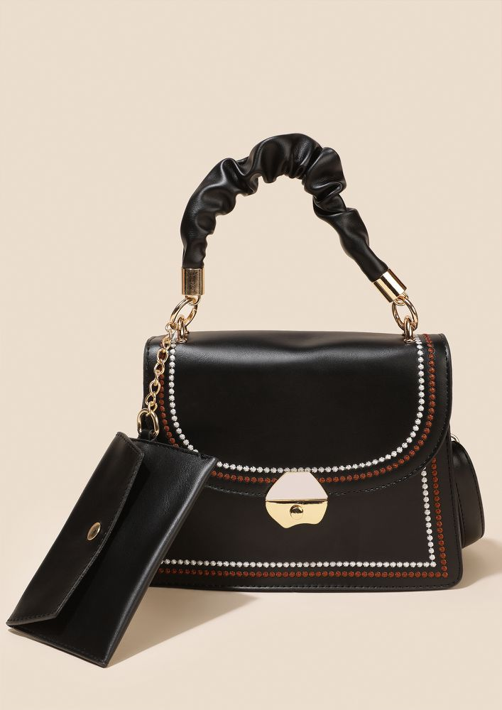 ALL IN THE DETAILS BLACK HANDBAG