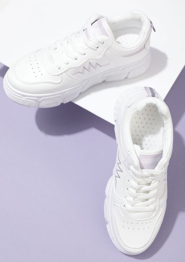 MY PURPLE LIFELINE WHITE TRAINERS
