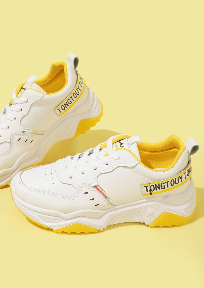 READY FOR ADVENTURE YELLOW WHITE TRAINERS