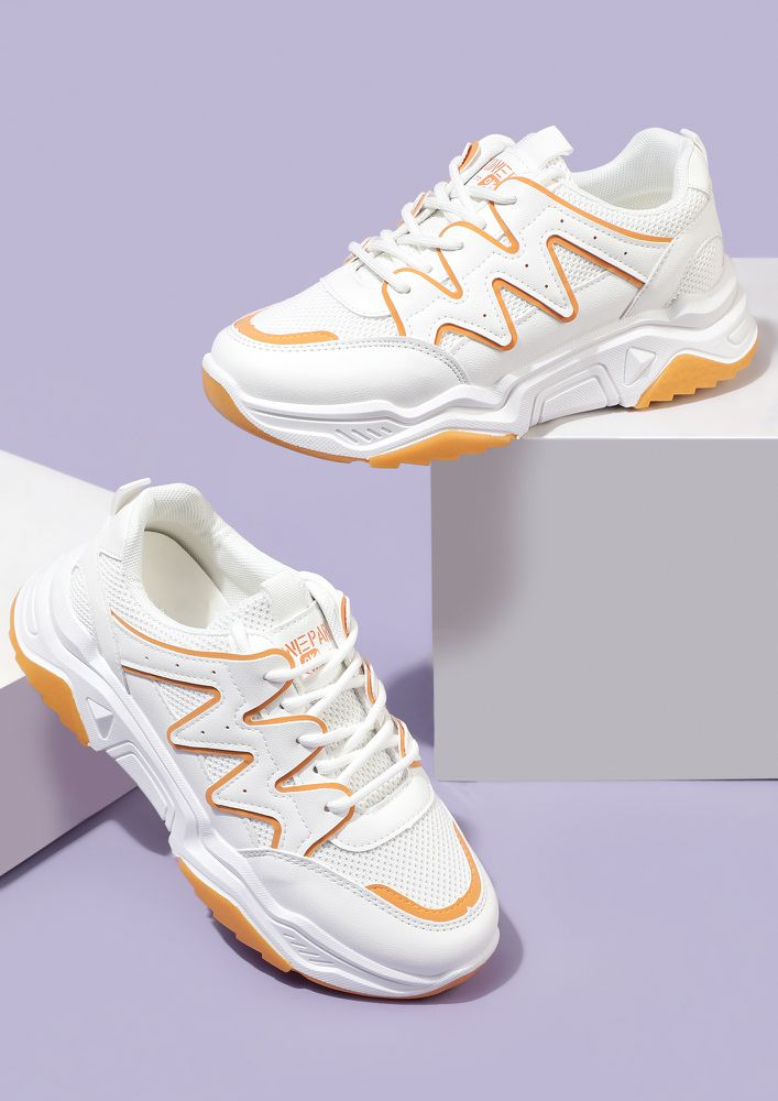 FIND MY PATH ORANGE WHITE TRAINERS