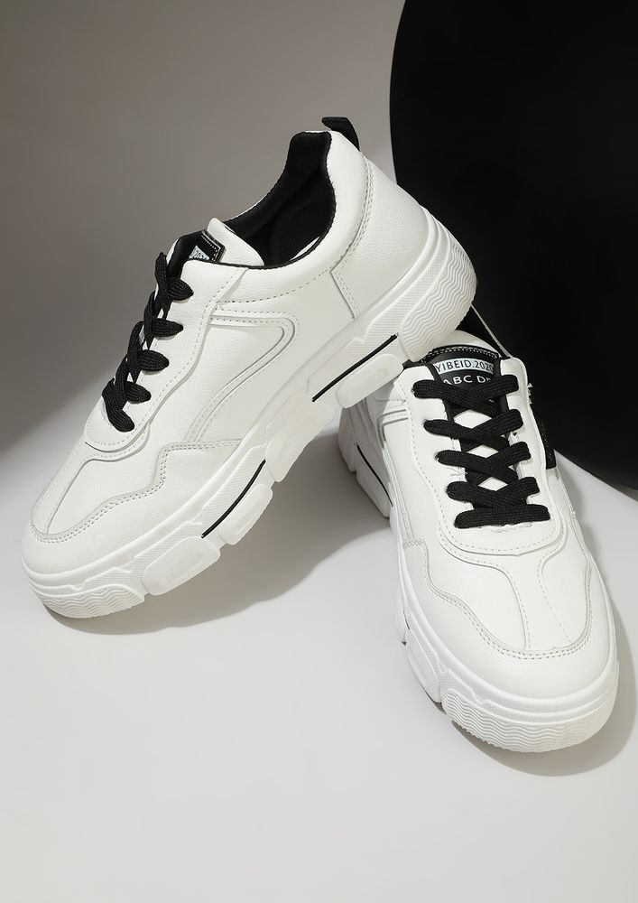 MONOCHROME MAX BLACK WHITE TRAINERS