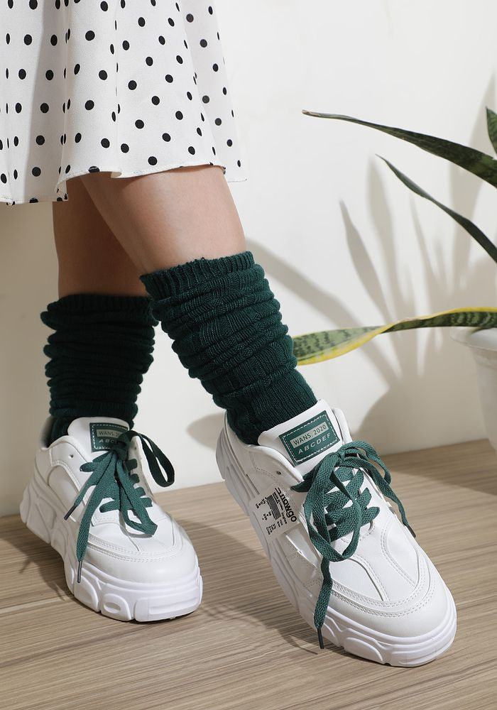 BASIC BABE GREEN WHITE TRAINERS
