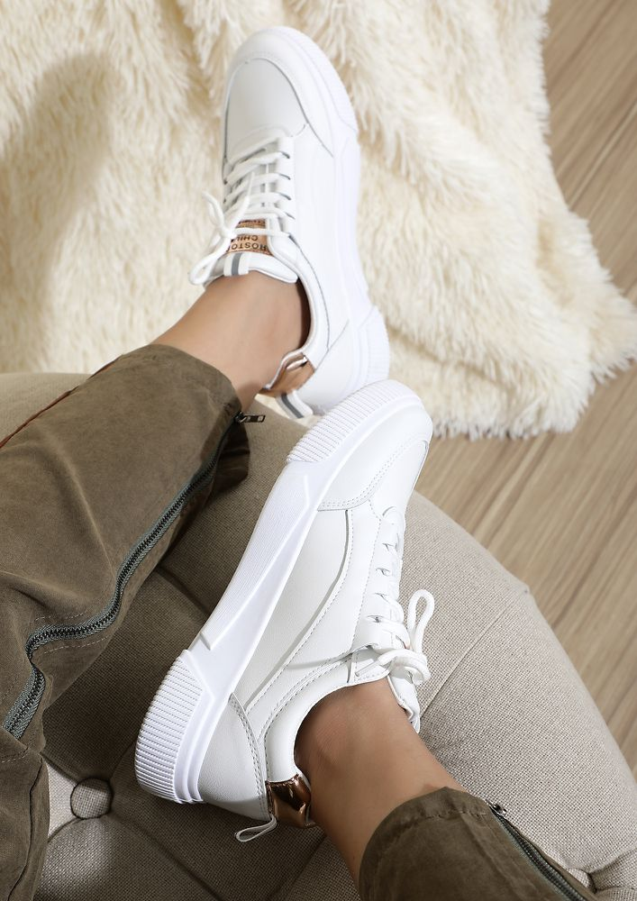 BASIC ROYALE GOLD WHITE TRAINERS