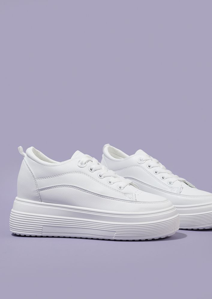 WALK AN EXTRA MILE MILK WHITE TRAINERS