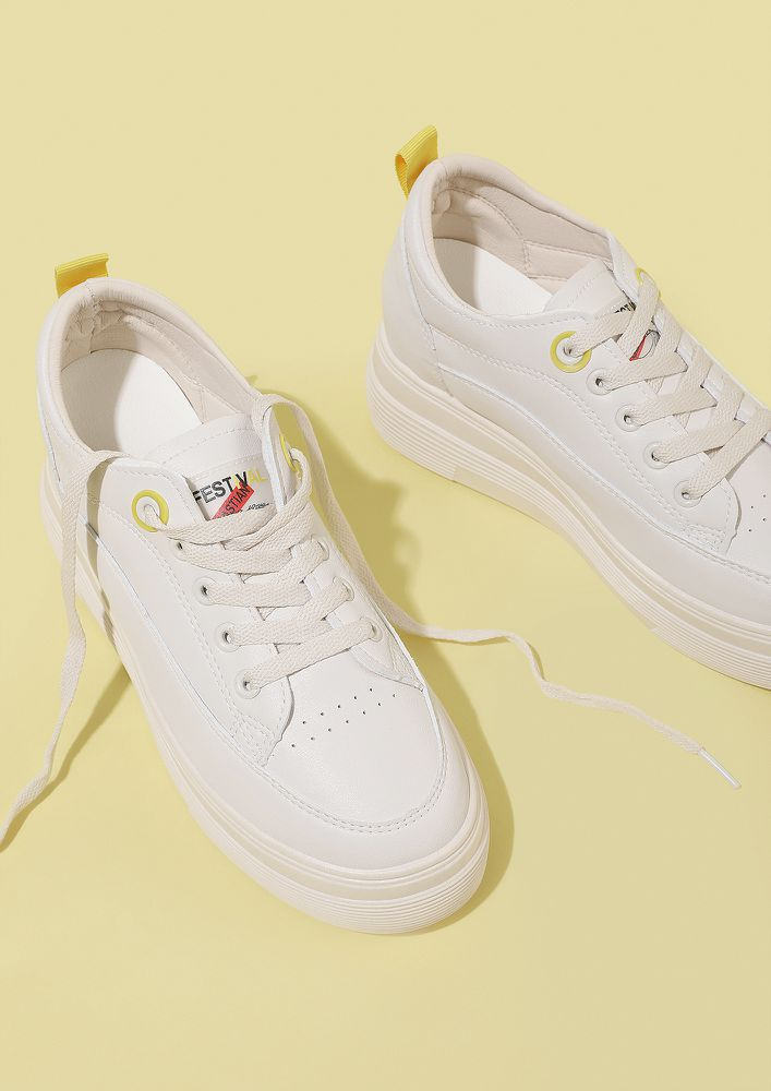 WALK AN EXTRA MILE WHITE TRAINERS