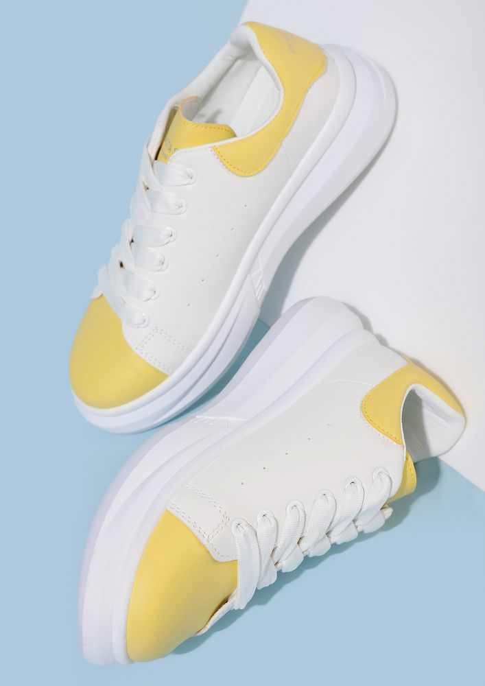 LET'S RUN OFF YELLOW WHITE TRAINERS