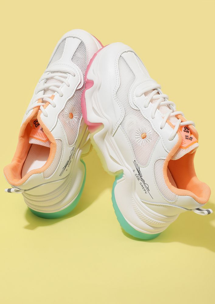 DRIVEN BY THE FLOWER SPIRIT ORANGE TRAINERS