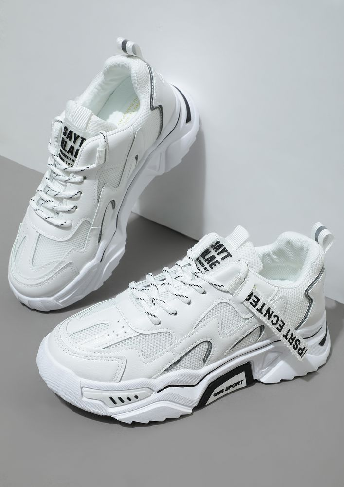 SCRAMBLED WORDS WHITE TRAINERS
