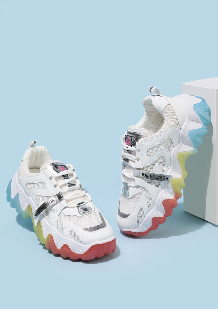 COLORFUL FEET WHITE TRAINERS