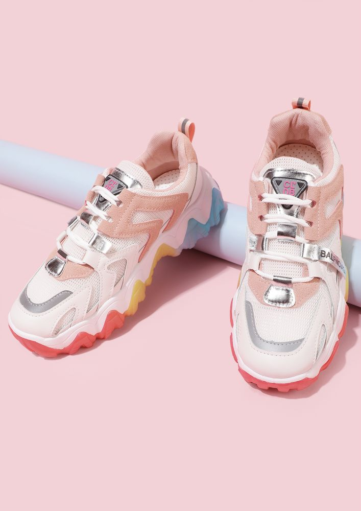 COLORFUL FEET PINK TRAINERS
