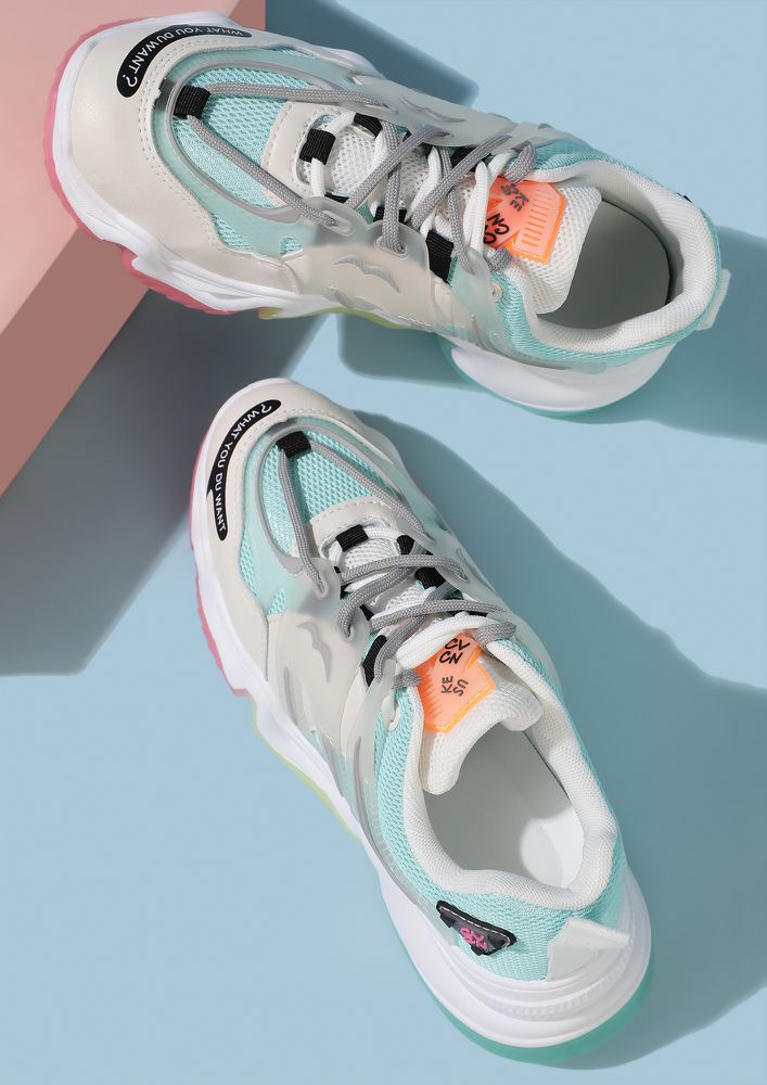 ALL PEPPY ALL SPORTY BLUE TRAINERS