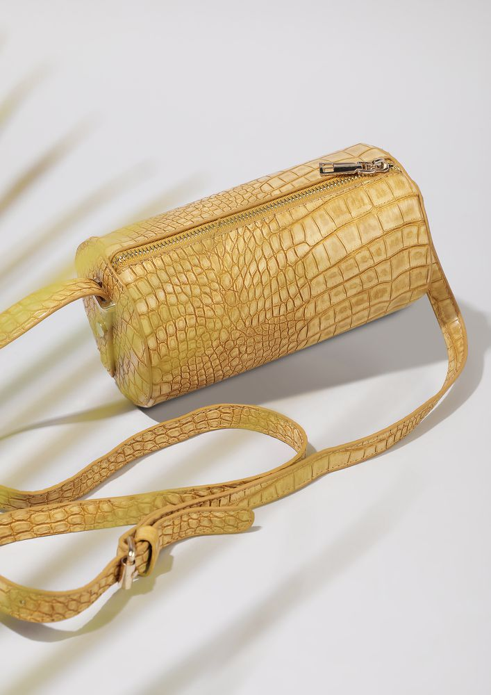 TIME TO CROC IT UP MUSTARD BUCKET BAG