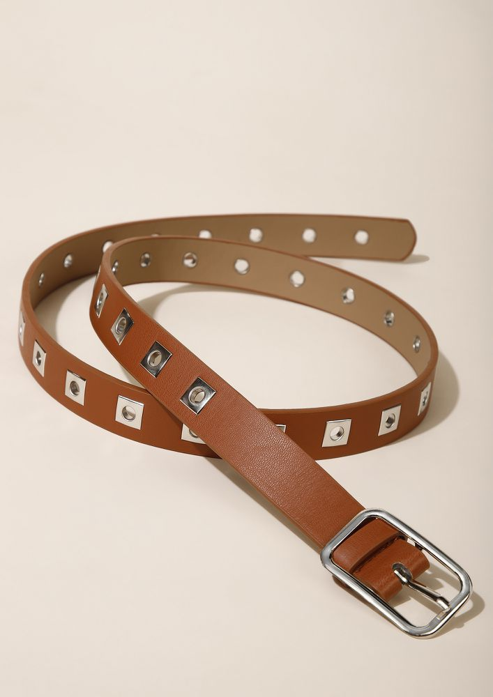 EDGY EYELETS TAN BELT