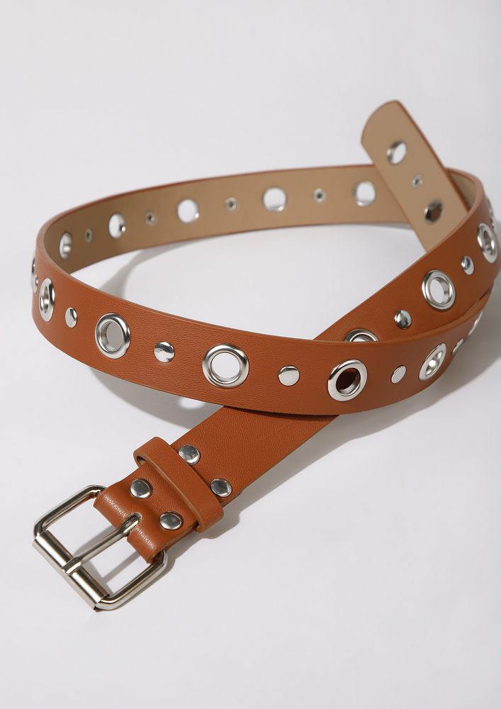 RIVET ISLAND TAN BELT