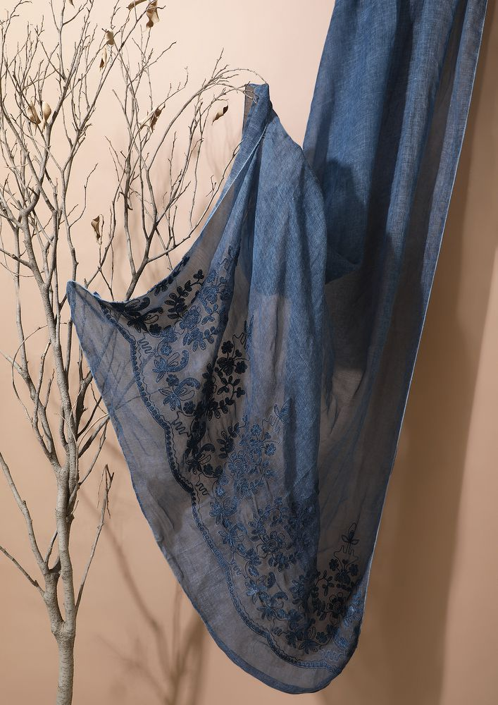 OCEANS AND SEAS BLUE SCARF