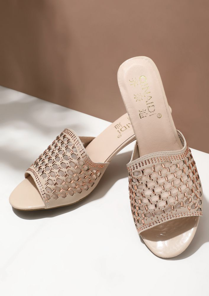 ONE DREAM AT A TIME BEIGE OPEN TOE HEELED SANDALS