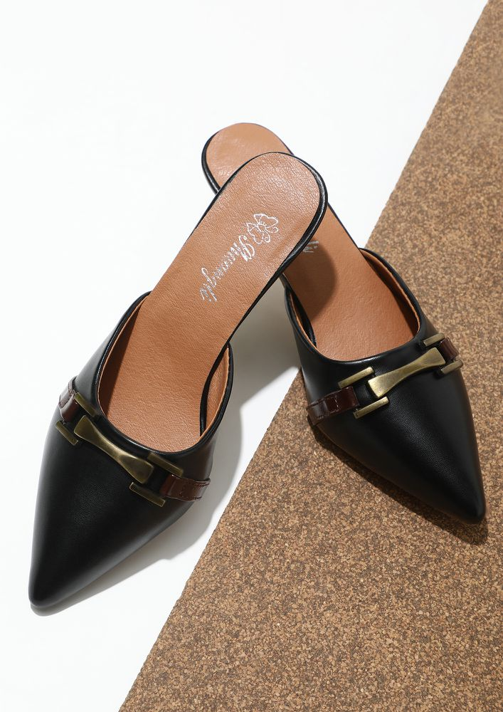 ALL OVER THE PLACE BLACK HEELED SANDALS