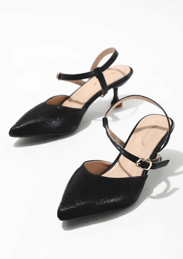 A TOUCH OF CUTENESS BLACK HEELED SANDALS