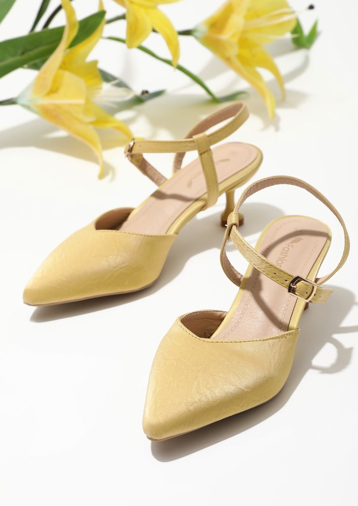 A TOUCH OF CUTENESS YELLOW HEELED SANDALS