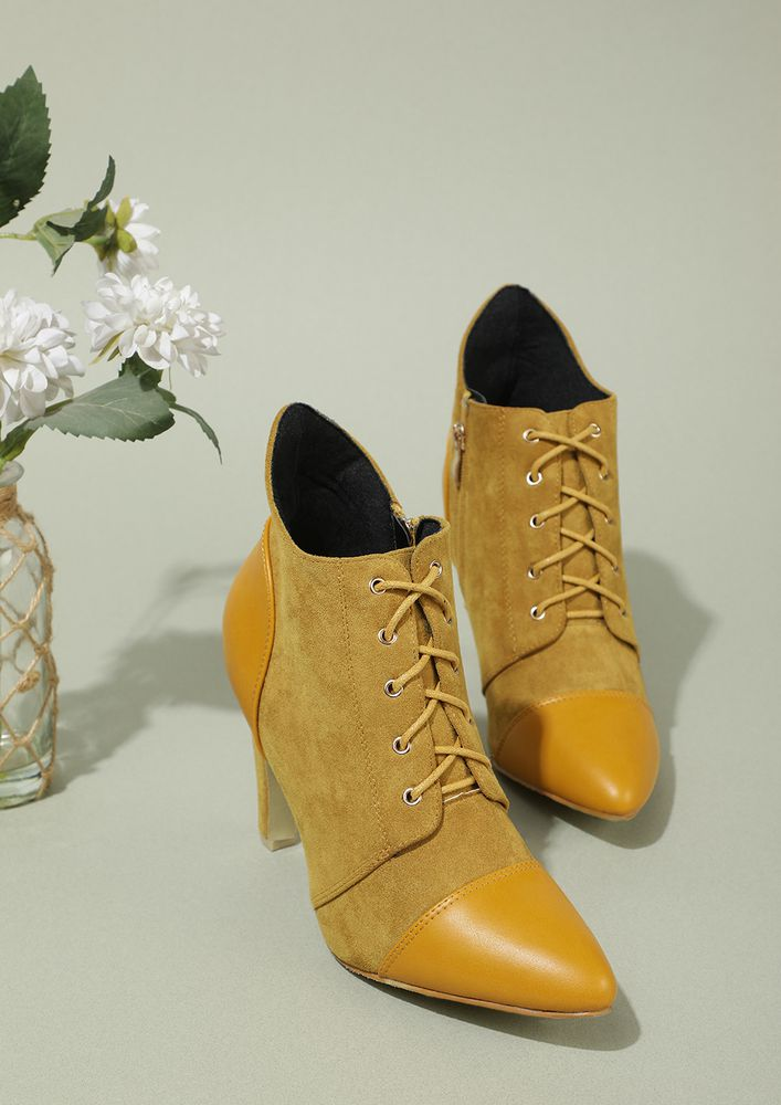 BE UNCONVENTIONAL MUSTARD YELLOW BOOTS