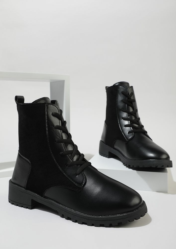 NEVER LOOK BACK BLACK COMBAT BOOTS