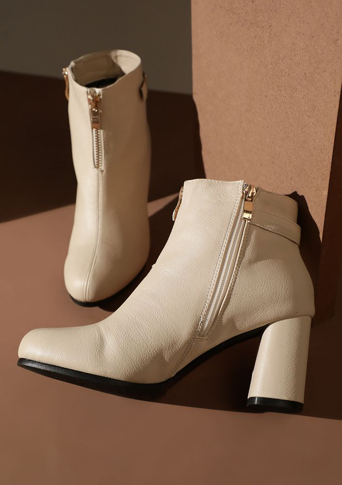 NO JUDGEMENT BEIGE ANKLE BOOTS