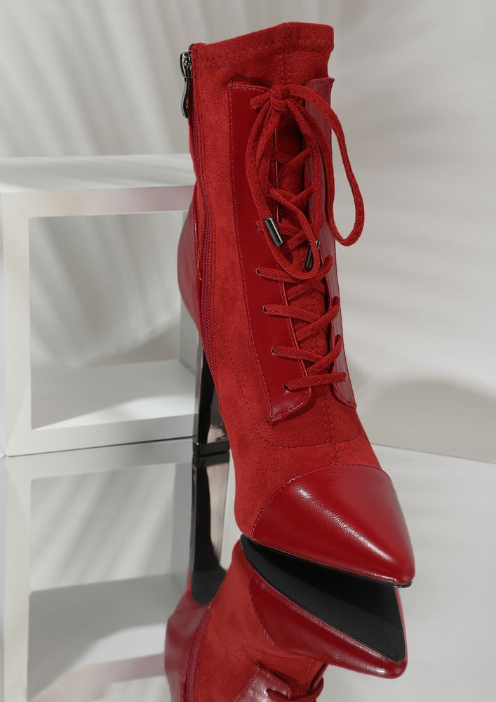 UPTOWN PUNK RED ANKLE BOOTS