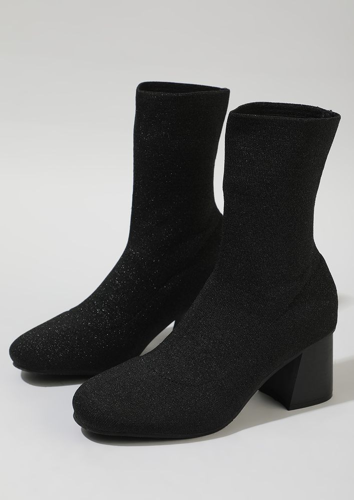 THAT'S A STRETCH SHIMMER BLACK  ANKLE BOOTS