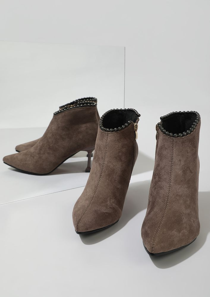 RIDING HIGH COFFEE BROWN ANKLE BOOTS