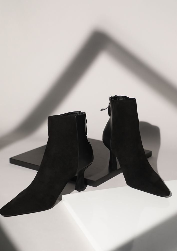 A DUAL APPROACH BLACK ANKLE BOOTS