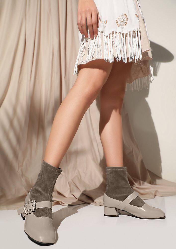 SOCK IT TO ME TAUPE BOOTS