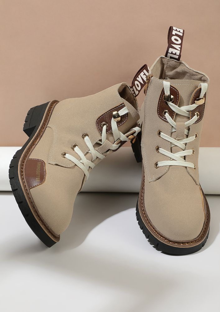 UP FOR A TREK TAUPE BOOTS