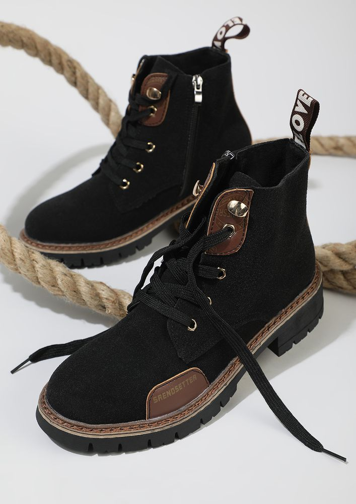UP FOR A TREK BLACK ANKLE BOOTS