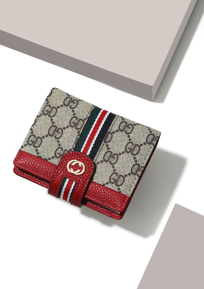 CHARMING IN A MINI RED MONOGRAM WALLET