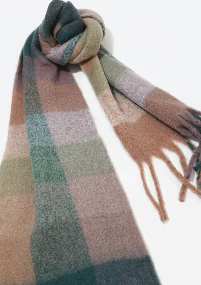 BE AT EASE GREEN CHECK BLANKET SCARF