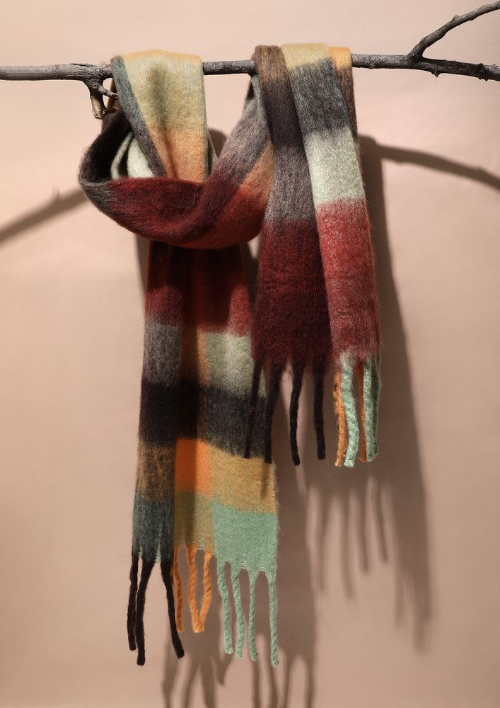BE AT EASE TAN CHECK BLANKET SCARF