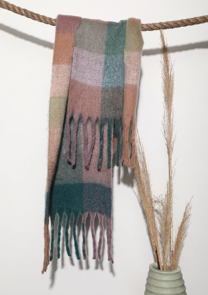 BE AT EASE PINK CHECK BLANKET SCARF